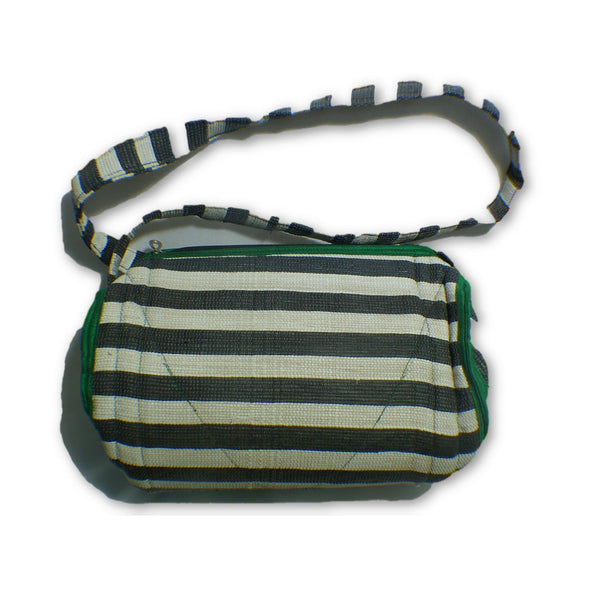 bee4fb1352 Small duffle bag recycled from waste plastic bags - black  white stripes  with green border