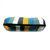 Small pencil pouch recycled from waste plastic bags - blue black yellow white vertical stripes