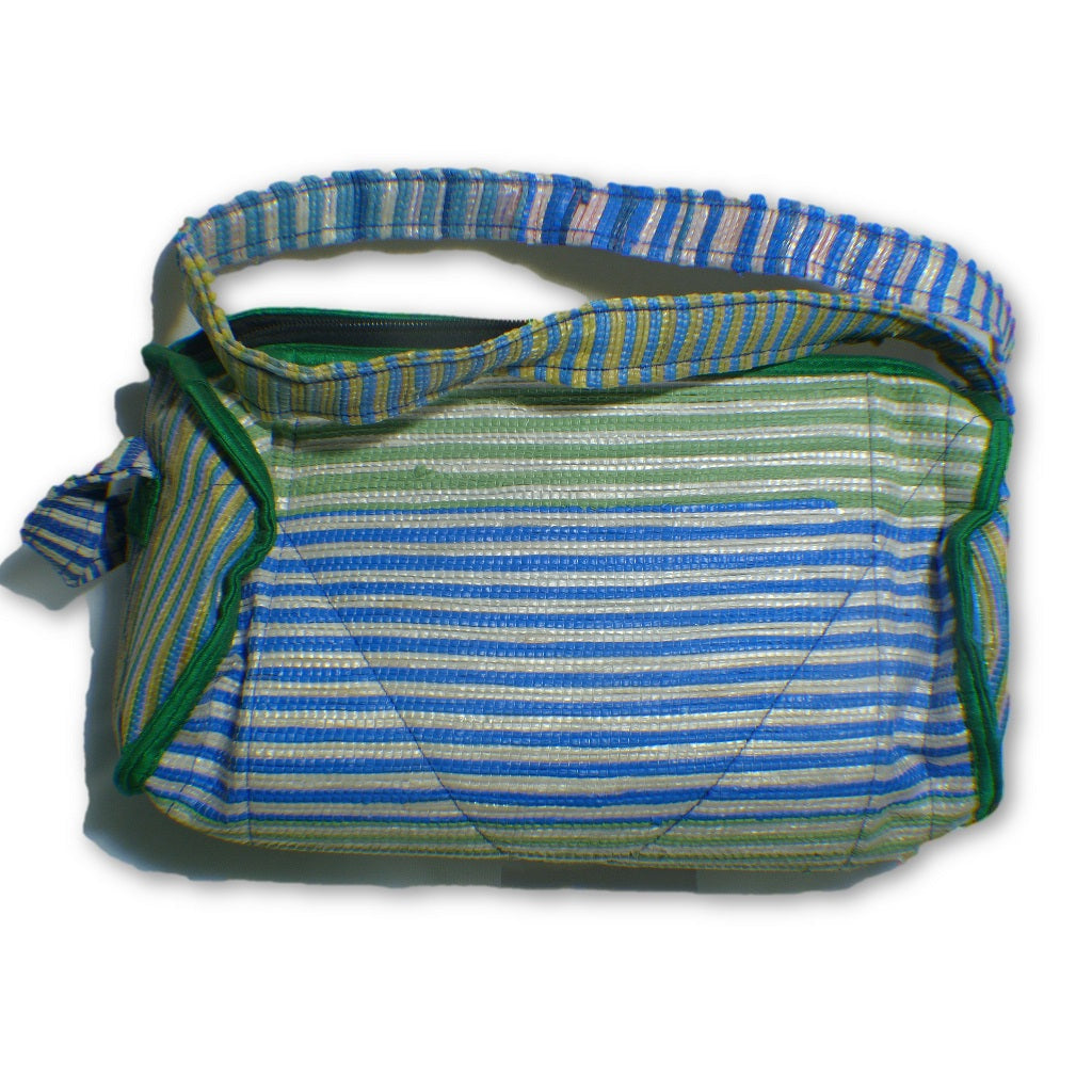 3c942a712e Small duffle bag recycled from waste plastic bags - blue   green stripes  with green border