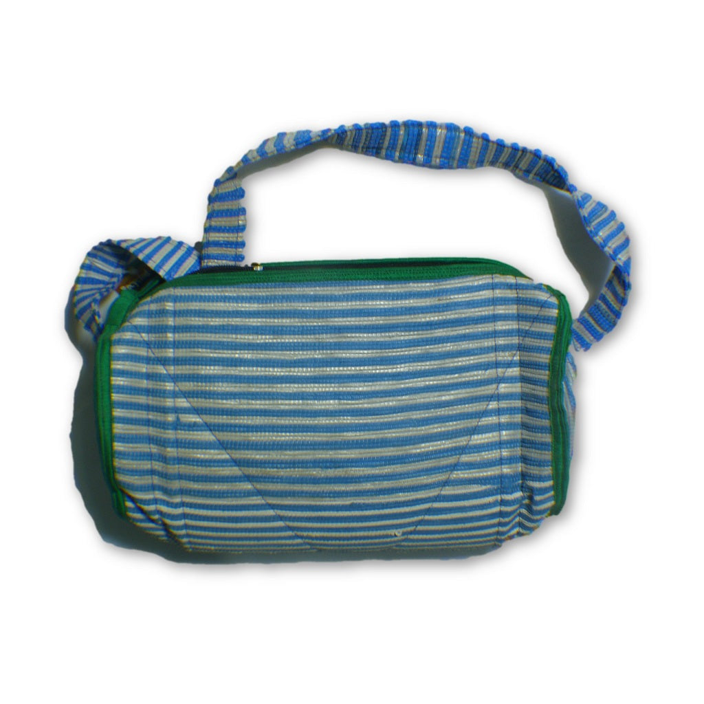 6f923d99a6 Small duffle bag recycled from waste plastic bags - blue   white stripes  with green border