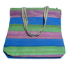 Medium Carry Bag recycled  from waste plastic bags - green pink blue stripes
