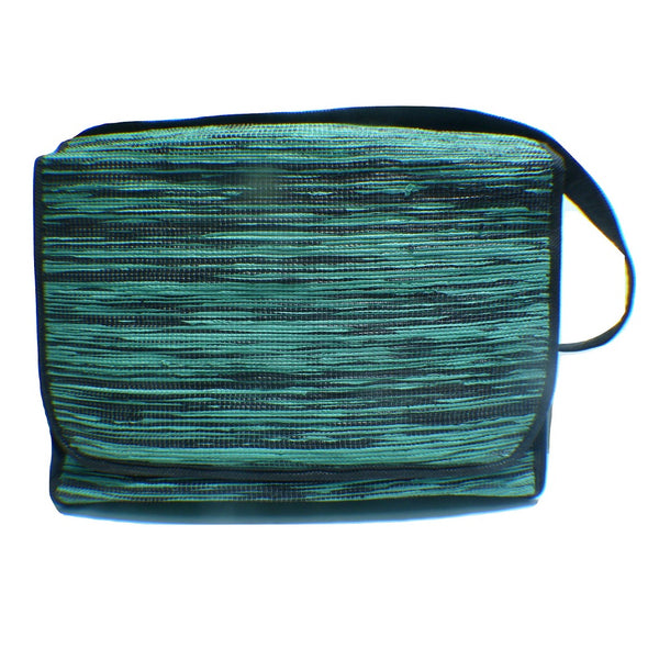 356c2777c6 Sling bag with magnet buttons recycled from waste plastic bags - green  stitched