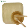 "Set of 10 areca squr plate 10""+bowl+wooden spoon+fork biodegradable compostable microwv+freezer safe"