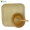"Set of 10 areca squr plate 10""+bowl+small wooden spoon biodegradable compostable micro+freezer safe"