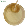 "Set of 10 areca round plt 12""+bowl+wooden small spoon biodegradable compostable microwv+freezer safe"