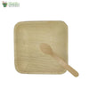 "A set of 10 areca square plate 6""+wooden spoon biodegradable compostable microwave & freezer safe"