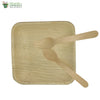 "A set of 10 areca square plate 6""+wooden spoon+fork biodegradable compostable microwave+freezer safe"