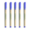 Set of 5 Recycled Paper Pen with cap Blue Colour, refillable- Recycle.Green