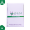 Set of 100 - Notebook Diary Spiral A5 size made out of Recycled Paper single line 25 pages- Recycle.Green brand