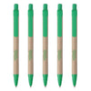 Set of 5 Recycled Paper Pen with push clip, refillable, Green Colour- Recycle.Green