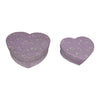 Heart Shaped Gift Boxes (Set of 2) Handmade from Khadi (Cotton Waste) Paper Leaf Design