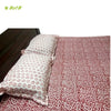 Organic Herbal Dyed Double Bed Sheet Popline Keri Block Print Red
