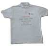 Waste PET Bottles Recycled to make this T Shirt - 50% PET 50% Cotton Polo White