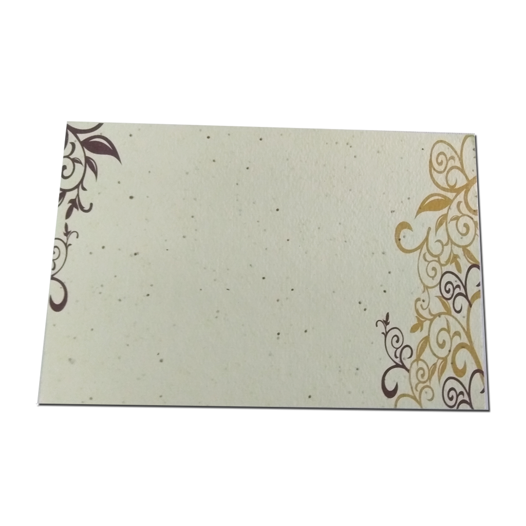Recycled Plantable Paper Invitation Cards With Beautiful Designs Without Cover 9 X 6 Inches 100 Cards