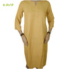 Organic herbal dyed women's long kurta 3/4 sleeve round cut neck khadi thread work