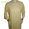 Organic herbal dyed women's long kurta peprika 3/4 sleeve round cut neck Cambric thread work
