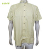 Organic herbal dyed Cambric men's shirt (Chinese collar) half sleeve