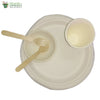 "Set of 10 round plate of 10""+round bowl+small wooden spoon+glass+fork biodgrdble compstble tableware"