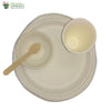 "Set of 10 round plate of 10""+bowl+ small wooden spoon+glass biodgrdble compstble tableware"