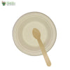 A set of 10 - sugarcane bagasse round plate 6 inch + wooden spoon biodegradable compostable