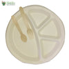 Set of 10 round 4 compartment plate+small wooden spoon+fork biodgrdble compstble tableware