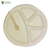 A set of 10 - round compartment plate of 4 + small wooden spoon biodegradable compostable tableware