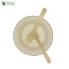 A set of 10 - sugarcane bagasse round plate 6 inch + wooden spoon & fork biodegradable compostable