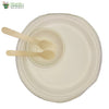 "Set of 10 round plate 10""+bowl 4""+ small wood spoon+fork Biodegradable Compostible Bagasse tableware"