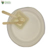 "Set of 10 Round Plate 10""+ squr bowl 4""+small wood spoon+wooden fork Biodgrdble Compstbl tableware"