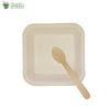 A set of 10 - sugarcane bagasse square plate 5.5 inch + wooden spoon biodegradable compostable