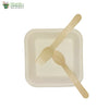 "A set of 10 sugarcane bagasse square plate 5.5""+ wooden spoon+fork biodegradable compostable"