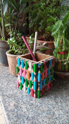Beautiful PEN Stand (Square) made out of Waste Colour Pencils - Saving Land Pollution