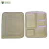 "Biodegradable Compostable Sugarcane Bagasse rectangle Plate 5 compartments+lid 11x8.5"" (Set of 25)"