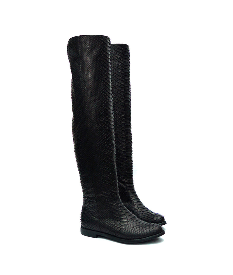 Vitto Black Python · Charlotte Luxury Boots · Luxury Flat Over Knee High Boots · Yarose Shulzhenko · Custom Made · Made to measure · Luxury Flat Tall Boots · Boots