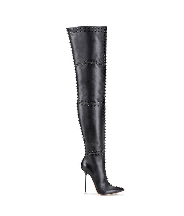 Ahrein Black · Charlotte Luxury Boots · Luxury High Heel Pointy Boots · Di Marni · Custom made · Made to measure · Luxury OTK Thigh High Heel Boots · Boots