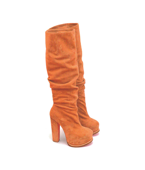 Apso Orange Suede · Charlotte Luxury Boots · Luxury High Heel Knee High Boots · Yarose Shulzhenko · Custom Made · Made to measure · Luxury High Heel Tall Boots · Boots