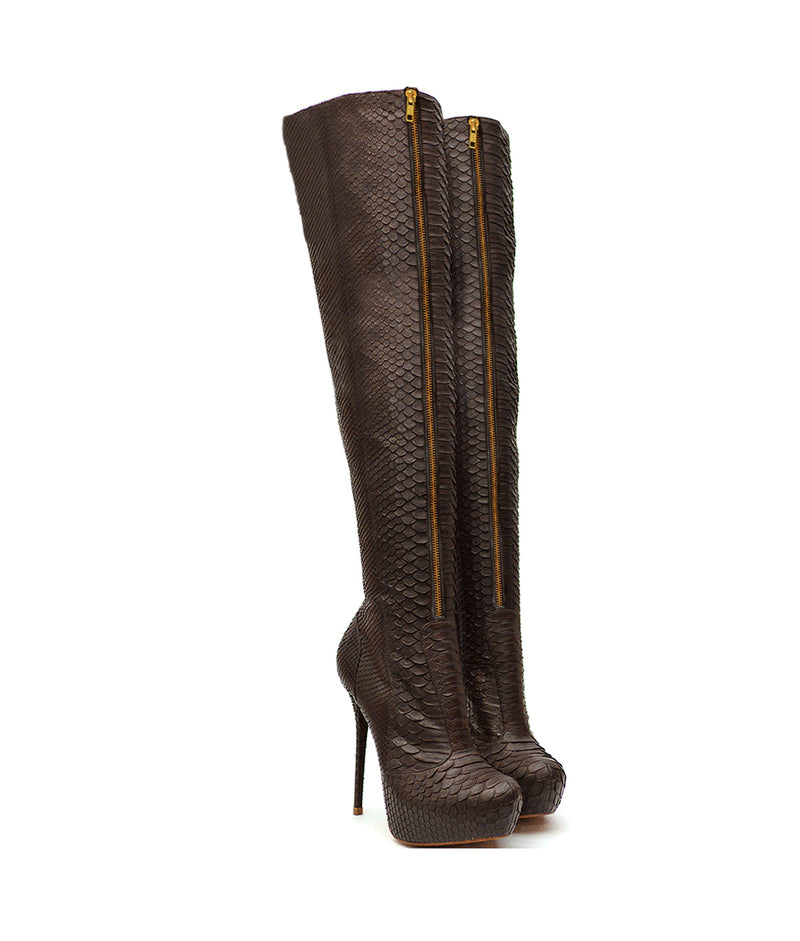 Arma Brown Python · Charlotte Luxury Boots · Luxury High Heel Over Knee Boots · Yarose Shulzhenko · Custom Made · Made to measure · Luxury High Heel Tall Boots · Boots