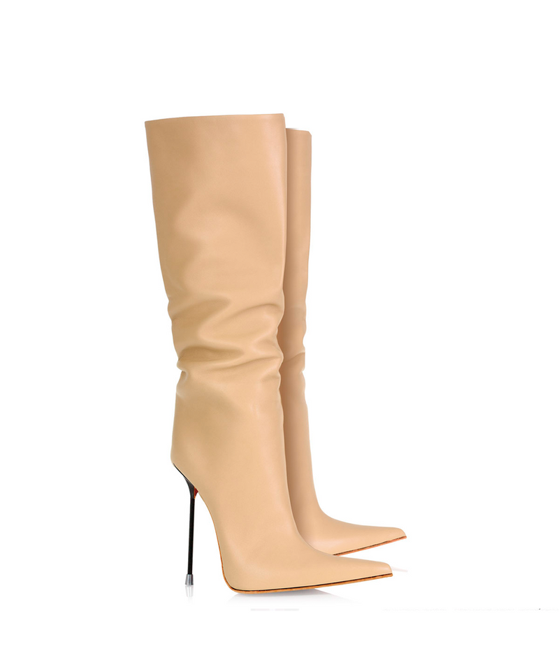 Byshian Nude · Charlotte Luxury Boots · Luxury High Heel Pointy Boots ·  Di Marni · Custom made · Made to measure · Luxury Pointy High Heel Boots · Stiletto Boots