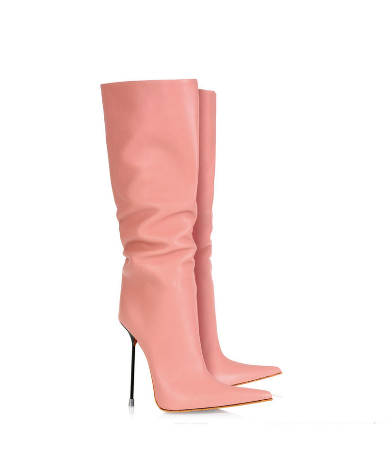Byshian Pink · Charlotte Luxury Boots · Luxury High Heel Pointy Boots ·  Di Marni · Custom made · Made to measure · Luxury Pointy High Heel Boots · Stiletto Boots