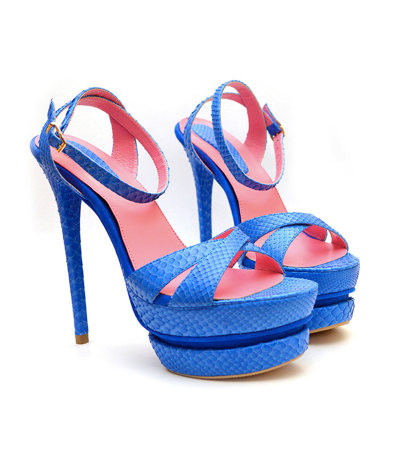 Calea Blue Python · Charlotte Luxury Shoes · Luxury High Heel Sandals Shoes · Yarose Shulzhenko · Custom Made · Made to measure · Luxury High Heel Sandals · Shoes
