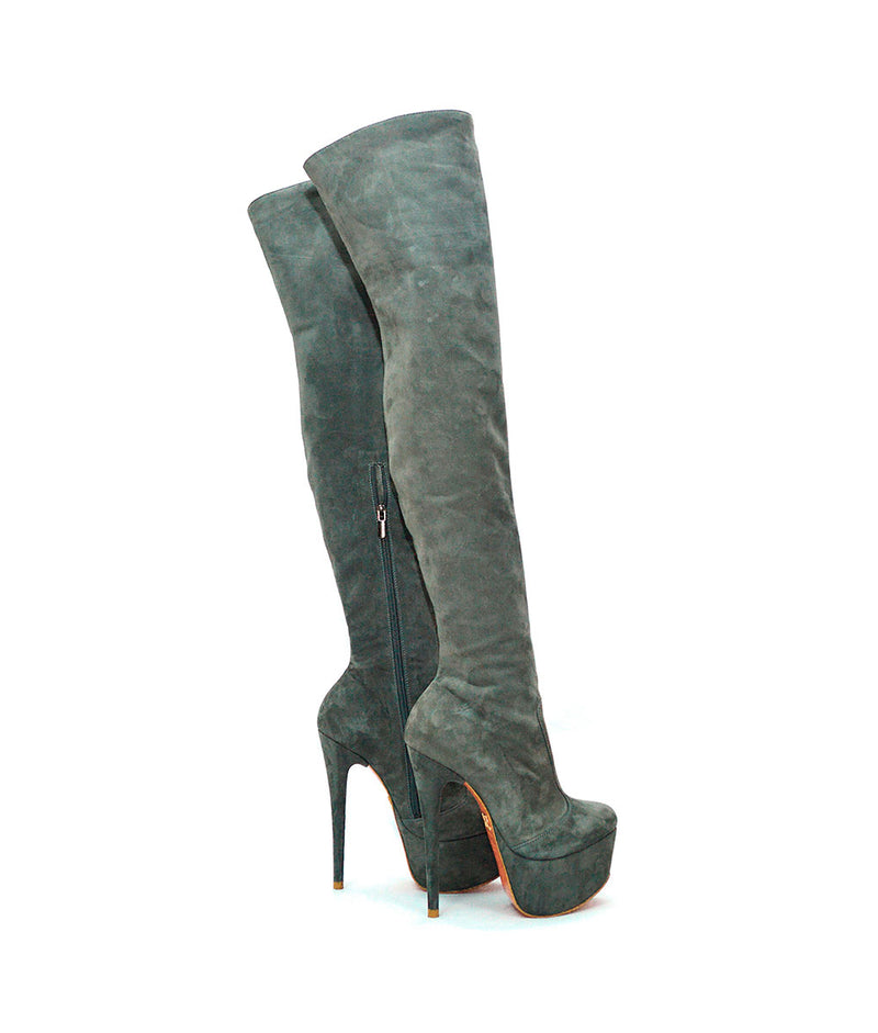 Carpem Gray Suede · Charlotte Luxury Boots · Luxury High Heel Thigh High Boots · Yarose Shulzhenko · Custom Made · Made to measure · Luxury High Heel Tall Boots · Boots