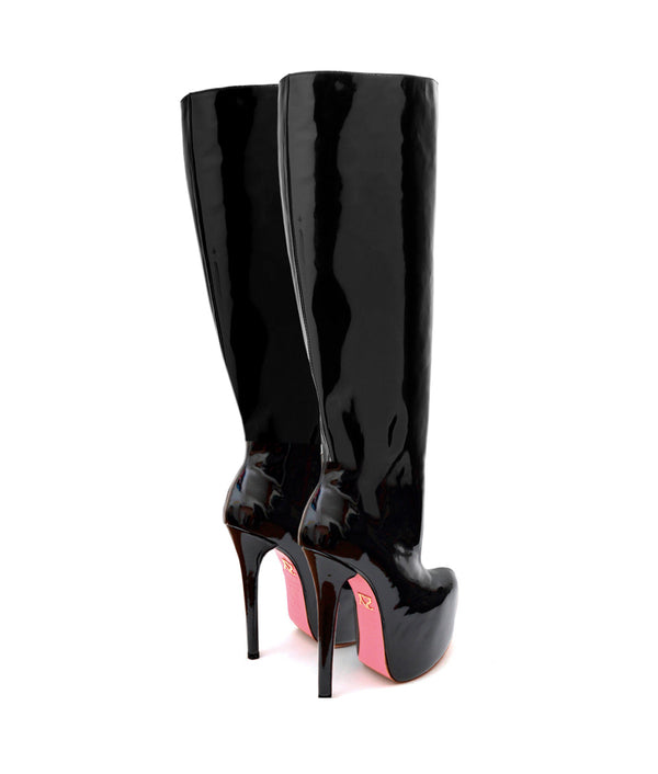 Cataleya Black Patent · Charlotte Luxury Boots · Luxury High Heel Knee High Boots · Yarose Shulzhenko · Custom Made · Made to measure · Luxury High Heel Tall Boots · Boots