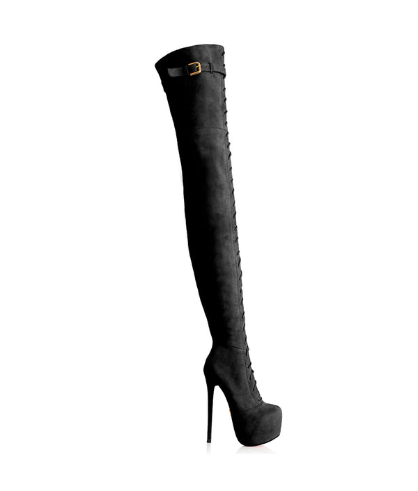 Conga Black Suede · Charlotte Luxury · Luxury High Heels Thigh High Boots · Yarose Shulzehnko Ys Boots · Thigh High custom Made Boots