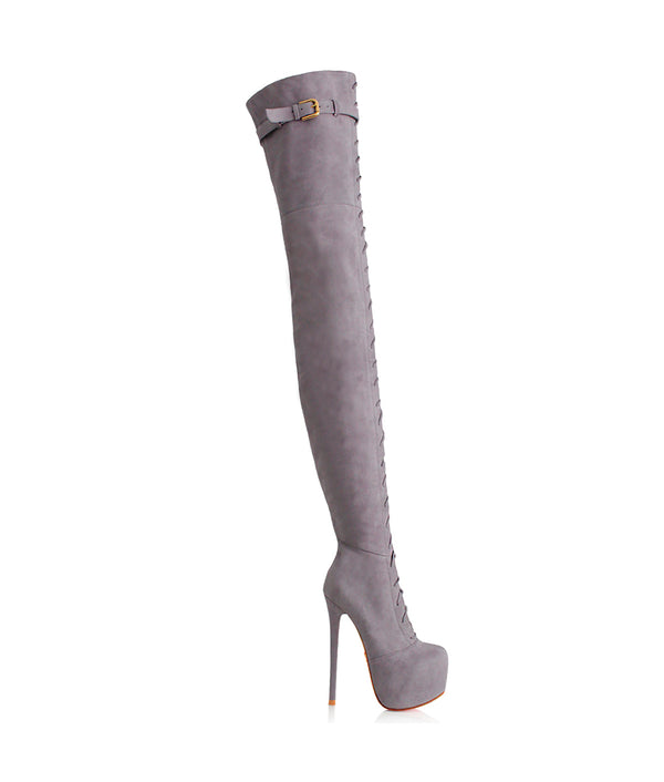 Conga Gray Suede · Charlotte Luxury · Luxury High Heels Thigh High Boots · Yarose Shulzehnko Ys Boots · Thigh High custom Made Boots
