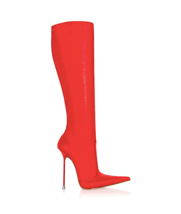 Corçao Red · Charlotte Luxury Boots · Luxury High Heel Pointy Boots ·  Di Marni · Custom made · Made to measure · Luxury Pointy High Heel Boots · Stiletto Boots