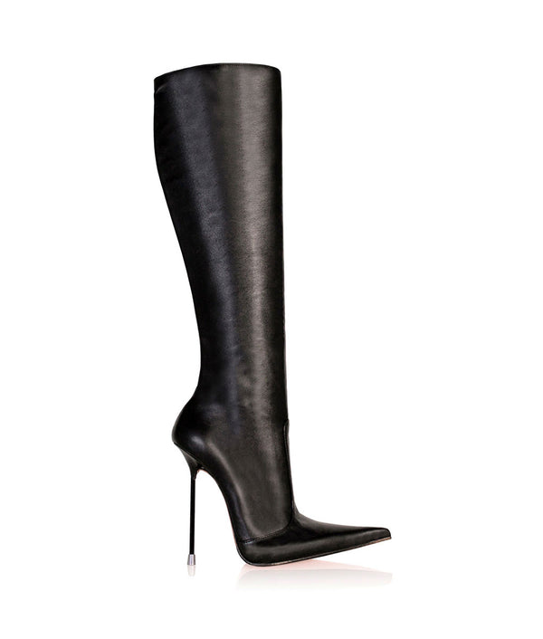 Corçao Black  · Charlotte Luxury Boots · Luxury High Heel Pointy Boots ·  Di Marni · Custom made · Made to measure · Luxury Pointy High Heel Boots · Stiletto Boots