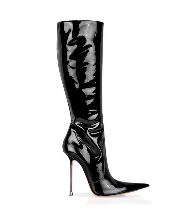 Corçao Black Patent  · Charlotte Luxury Boots · Luxury High Heel Pointy Boots ·  Di Marni · Custom made · Made to measure · Luxury Pointy High Heel Boots · Stiletto Boots