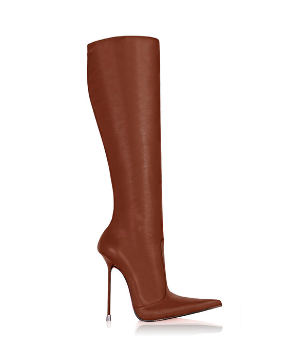 Corçao London Tan · Charlotte Luxury Boots · Luxury High Heel Pointy Boots ·  Di Marni · Custom made · Made to measure · Luxury Pointy High Heel Boots · Stiletto Boots