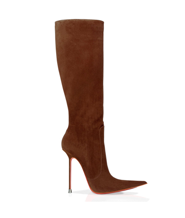 Corçao London Tan  Suede · Charlotte Luxury Boots · Luxury High Heel Pointy Boots · Di Marni · Custom made · Made to measure · Luxury Pointy High Heel Boots · Stiletto Boots