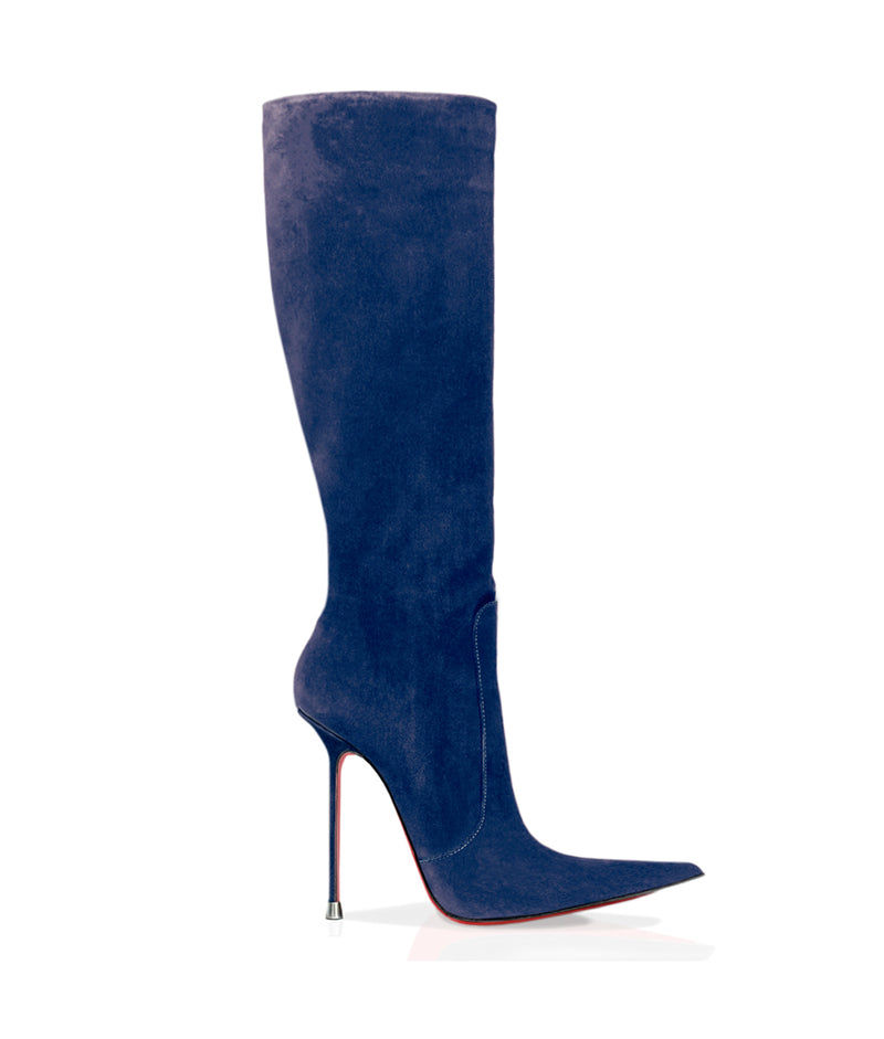 Corçao Navy Blue Suede · Charlotte Luxury Boots · Luxury High Heel Pointy Boots · Di Marni · Custom made · Made to measure · Luxury Pointy High Heel Boots · Stiletto Boots